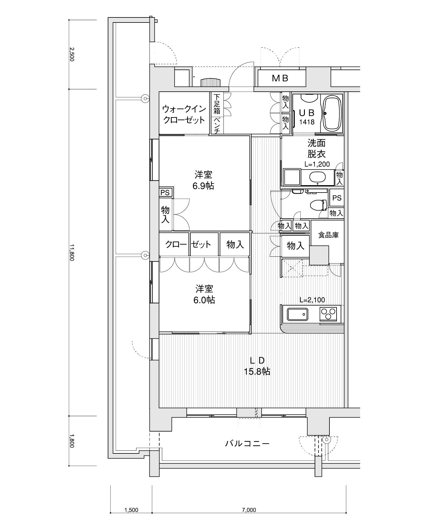 2201-I12LDK専有面積 / 82.60m²