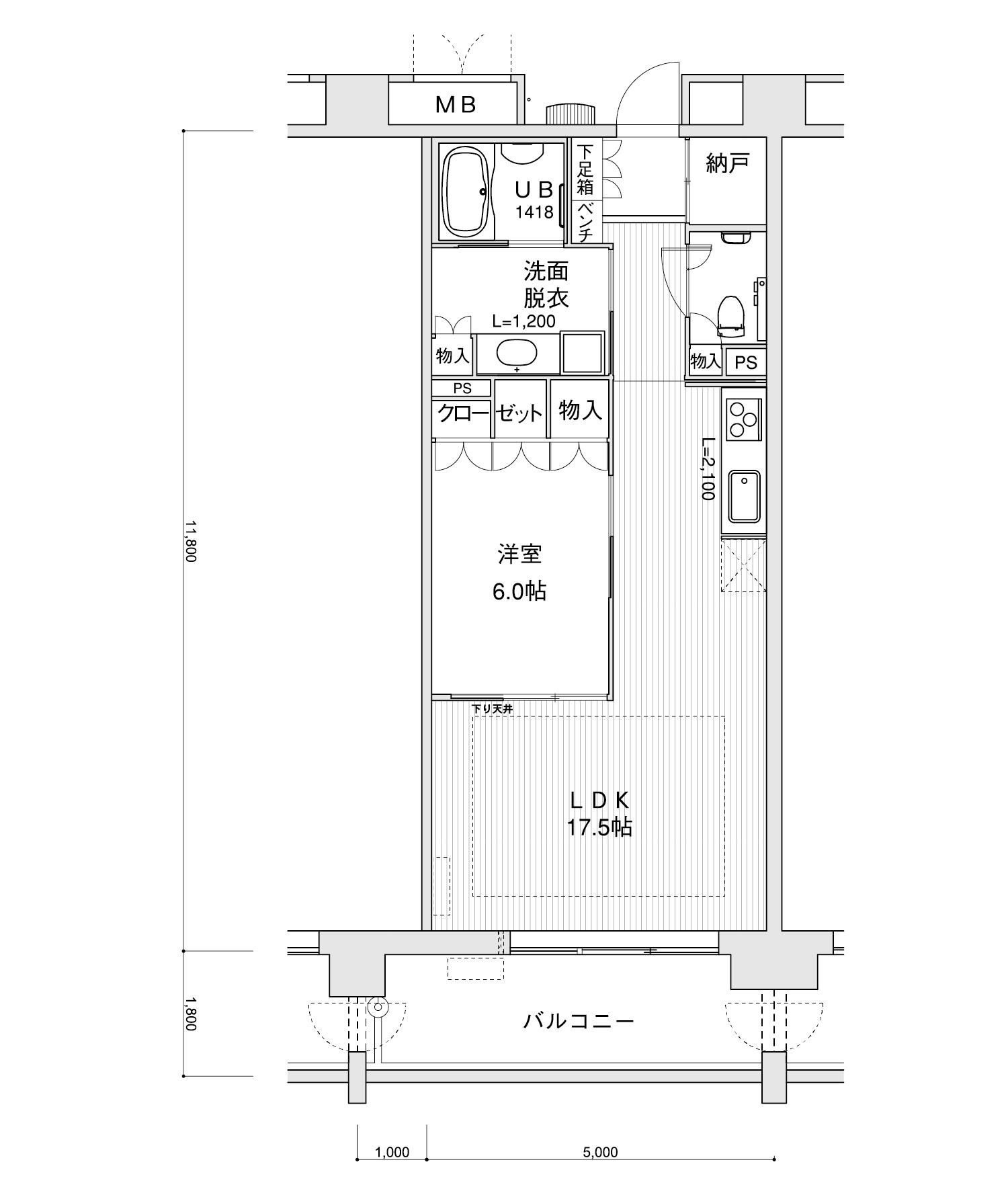 2202-B11LDK+納戸専有面積 / 59.00m²