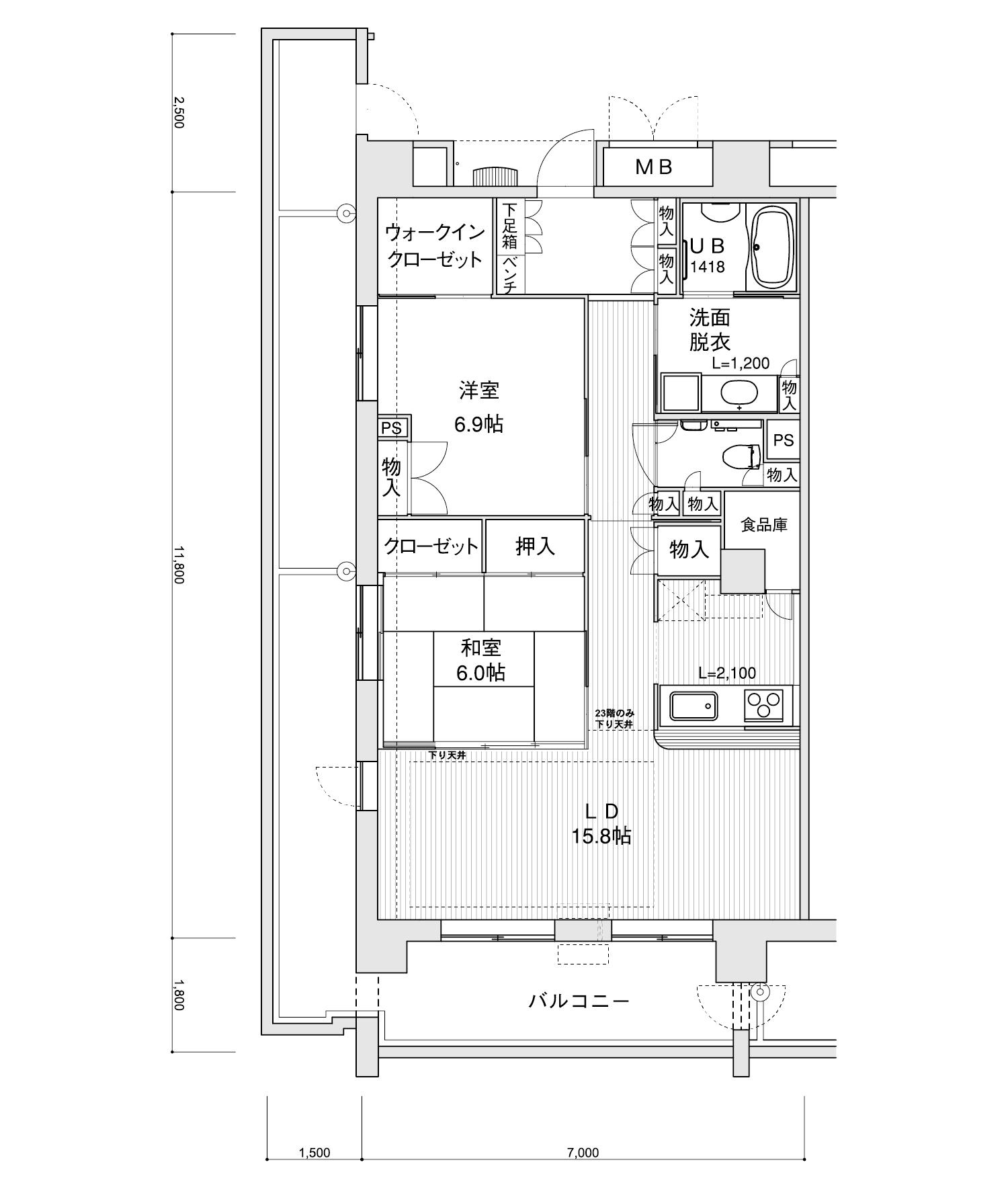 1401-I22LDK専有面積 / 82.60m²