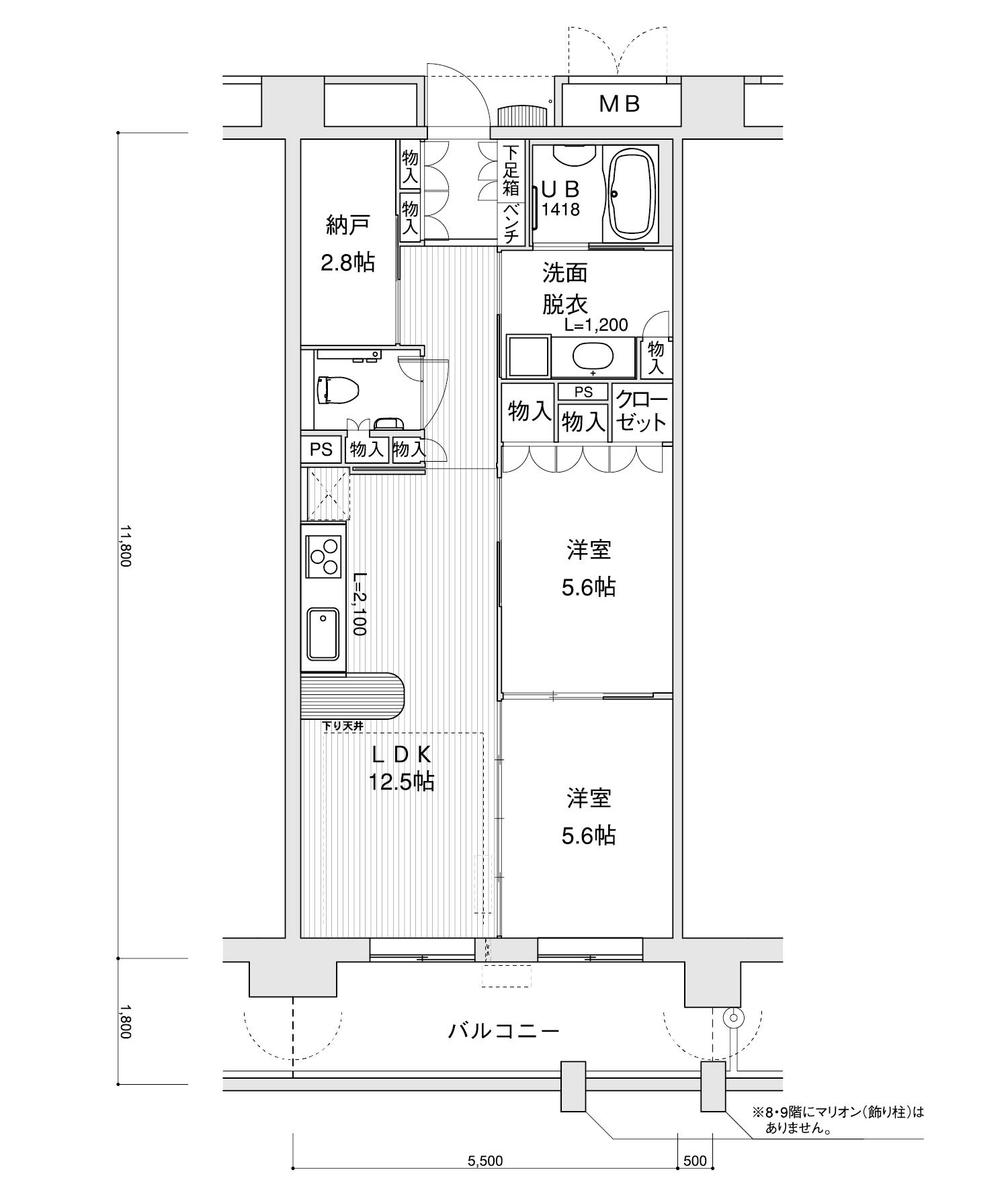 1106-D22LDK+納戸専有面積 / 64.90m²