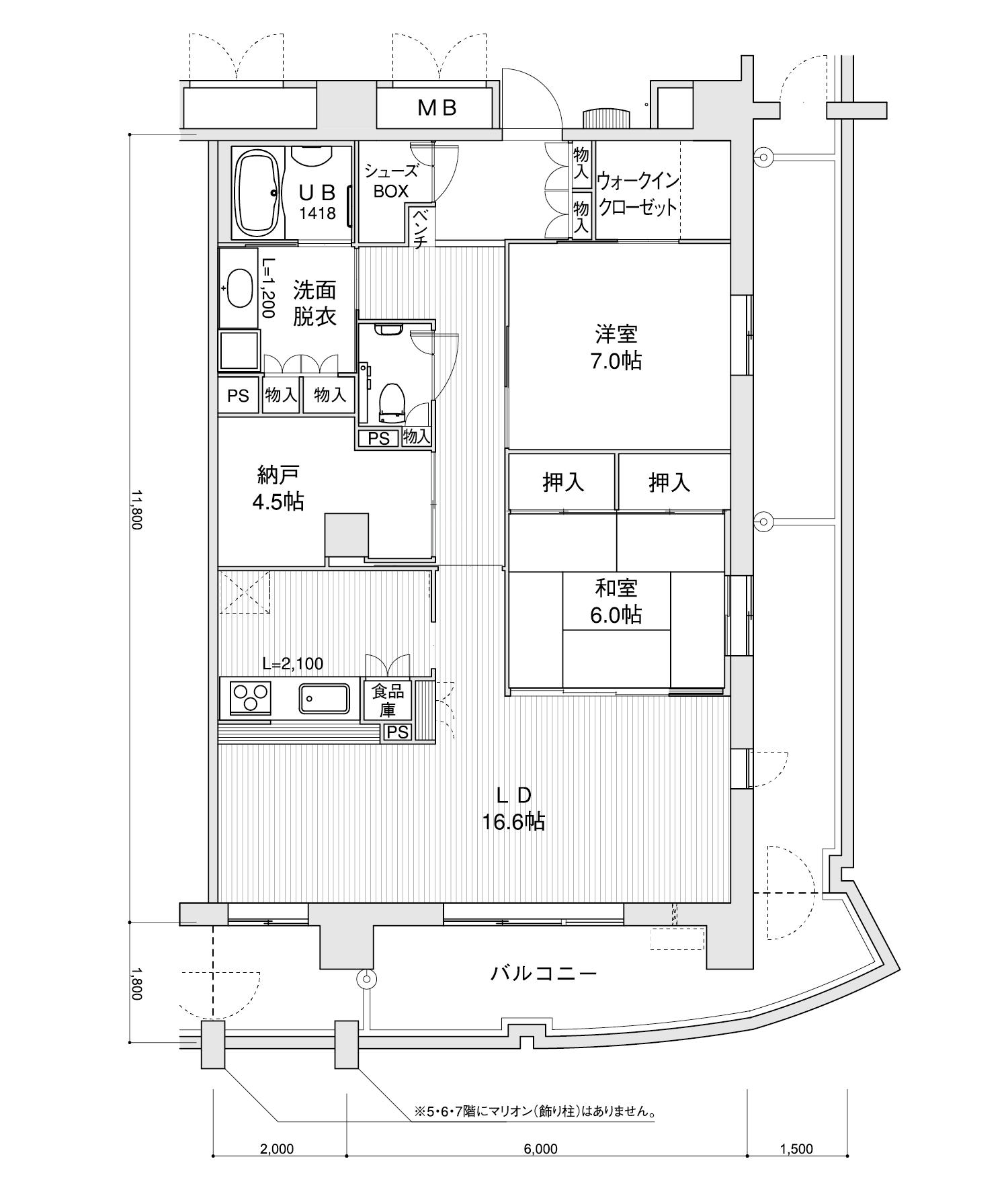 2207-K12LDK+納戸専有面積 / 94.40m²