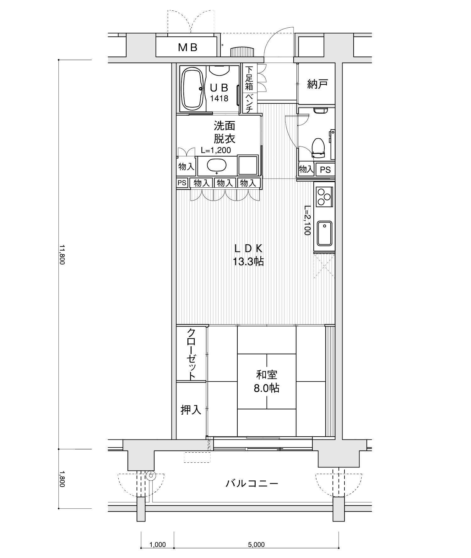 1402-B21LDK+納戸専有面積 / 59.00m²