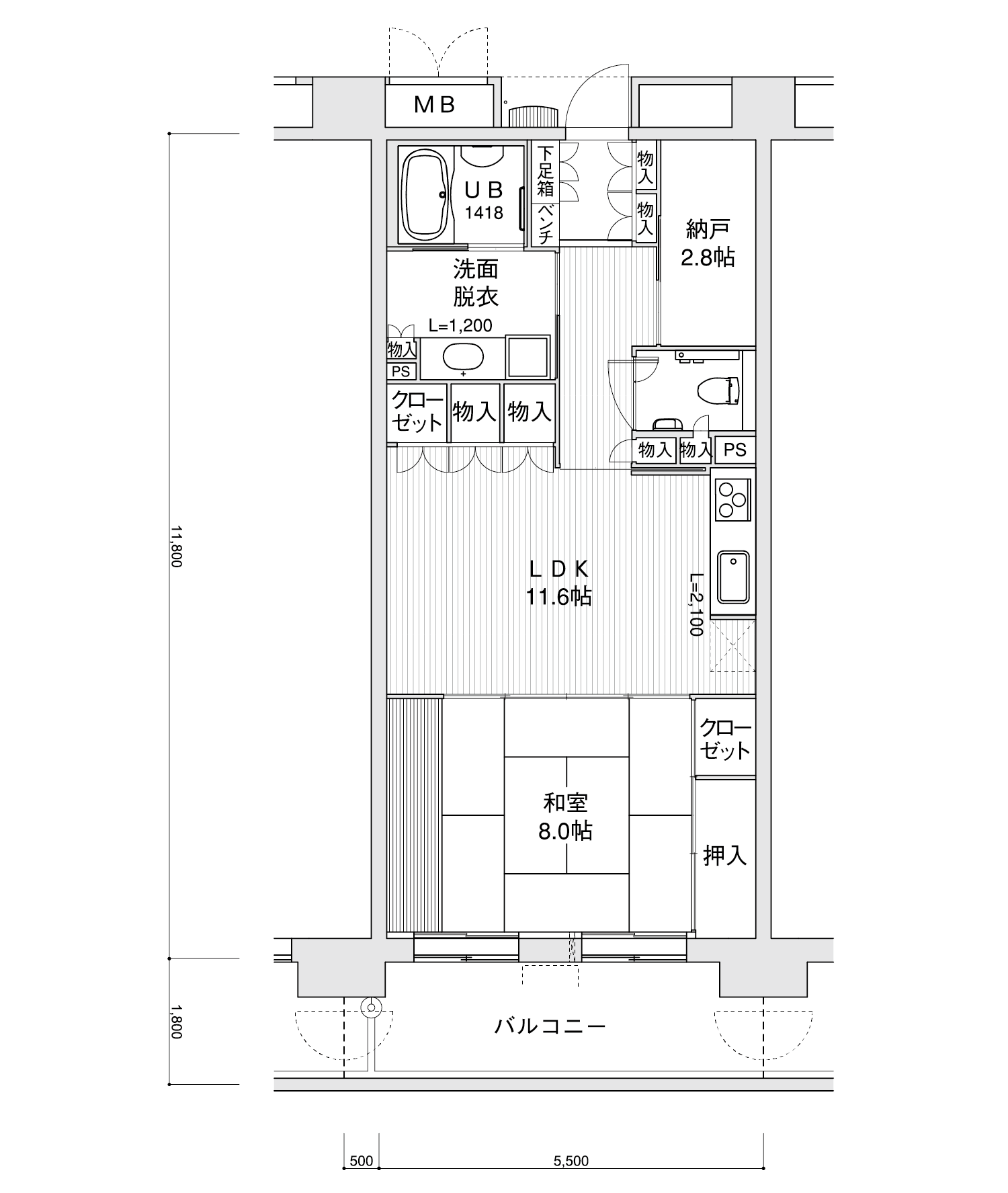 2105-C51LDK+納戸専有面積 / 64.90m²