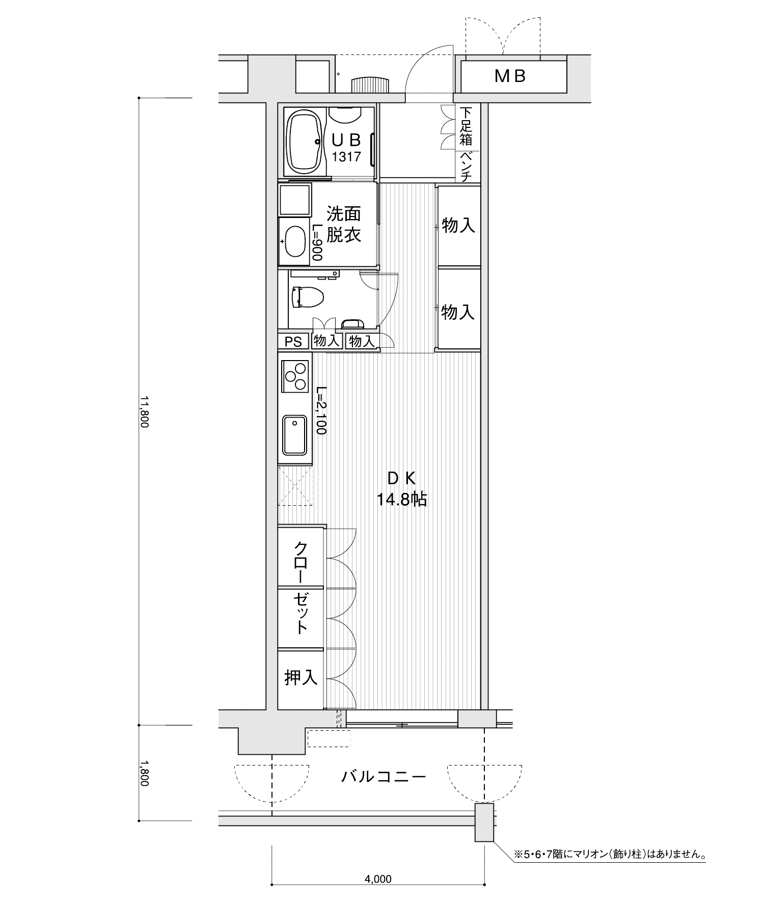 2006-A3ワンルーム専有面積 / 47.20m²