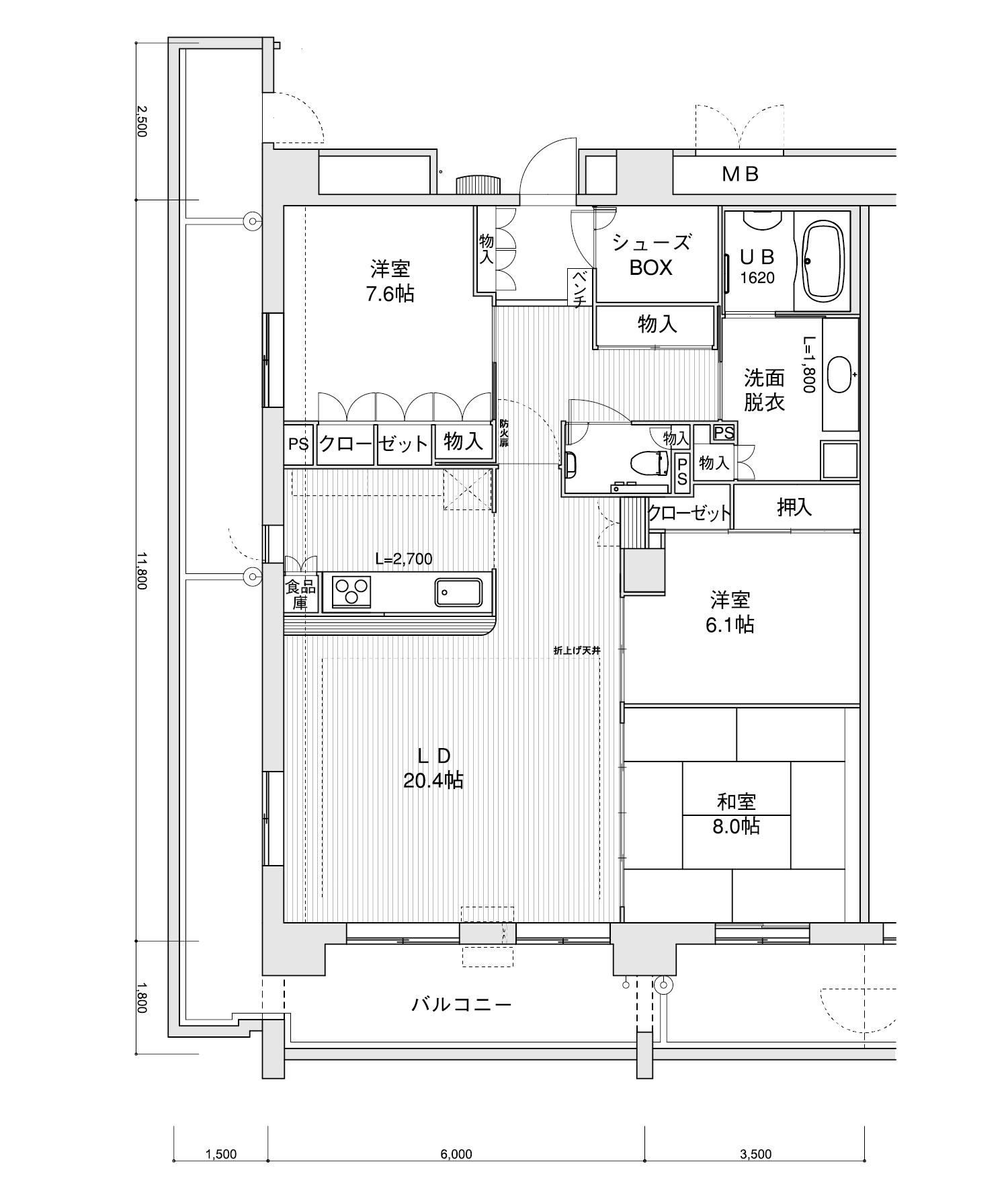 2401-M13LDK専有面積 / 112.10m²