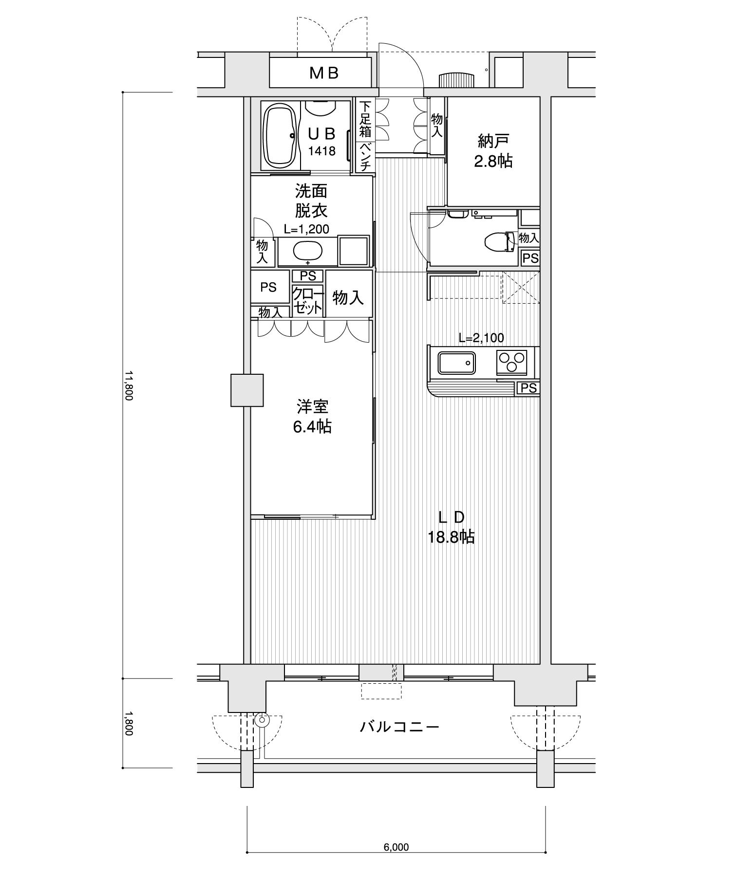 702-F31LDK+納戸専有面積 / 70.80m²