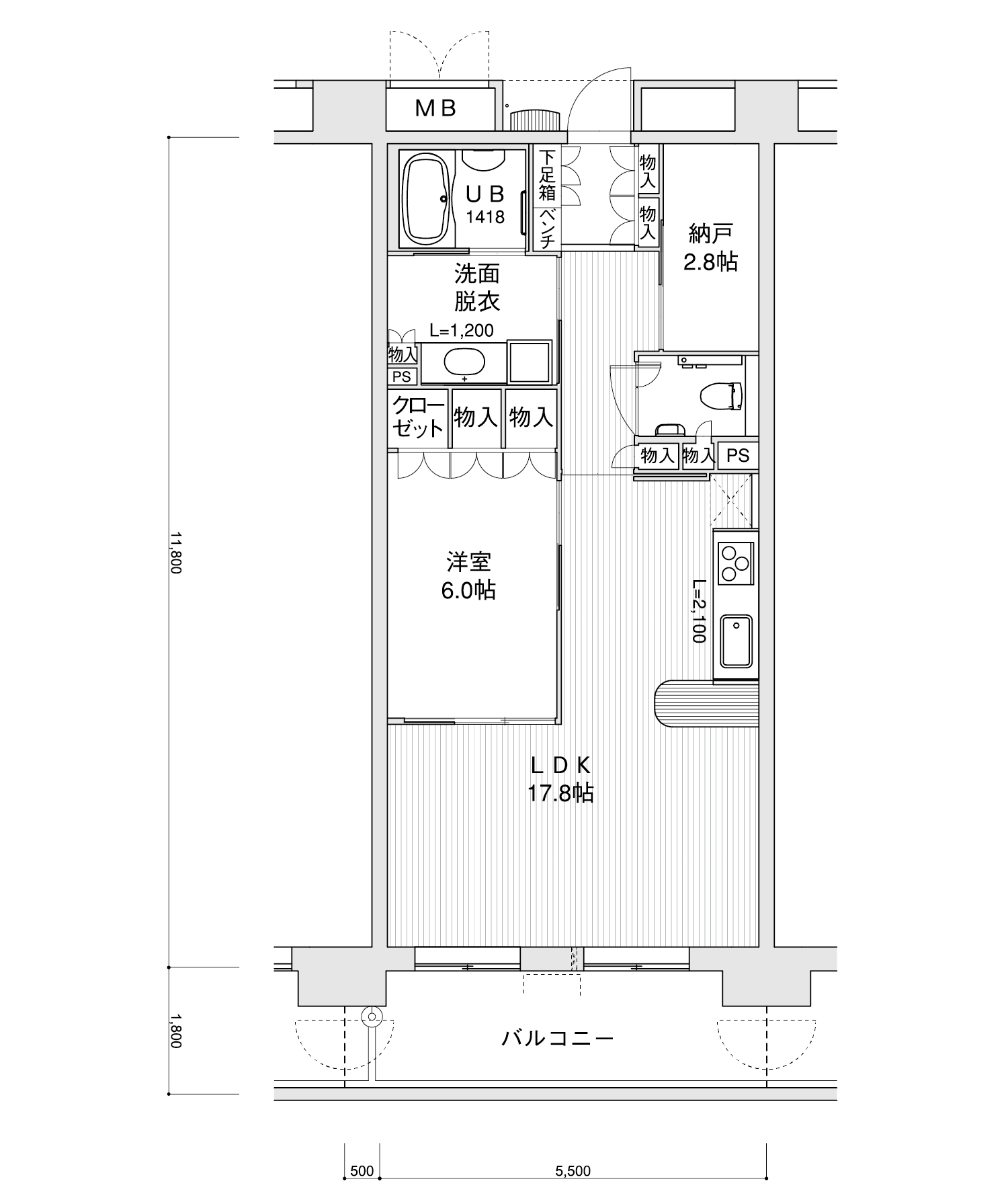 1005-C31LDK+納戸専有面積 / 64.90m²
