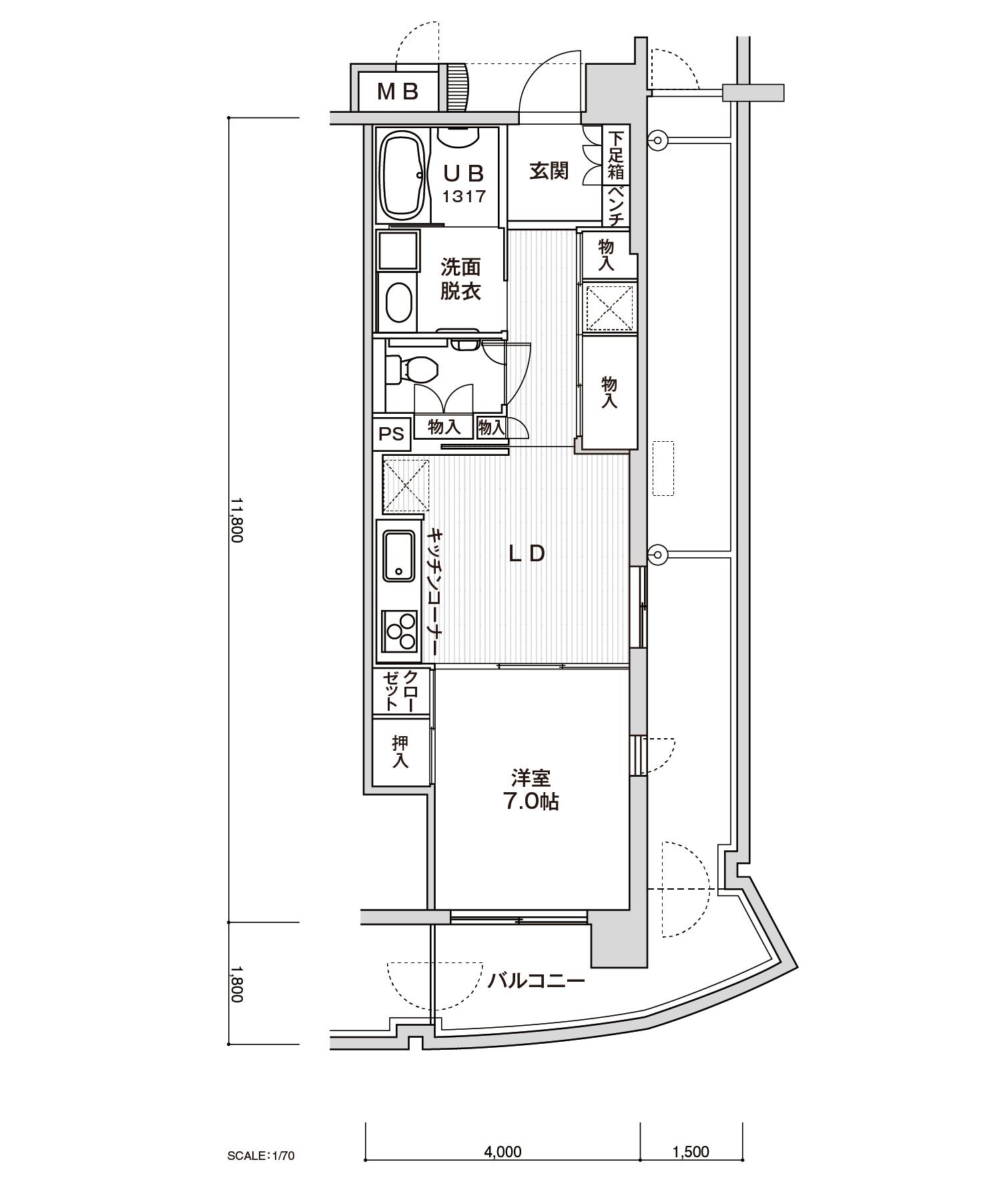 508-P21LDK専有面積 / 45.40m²
