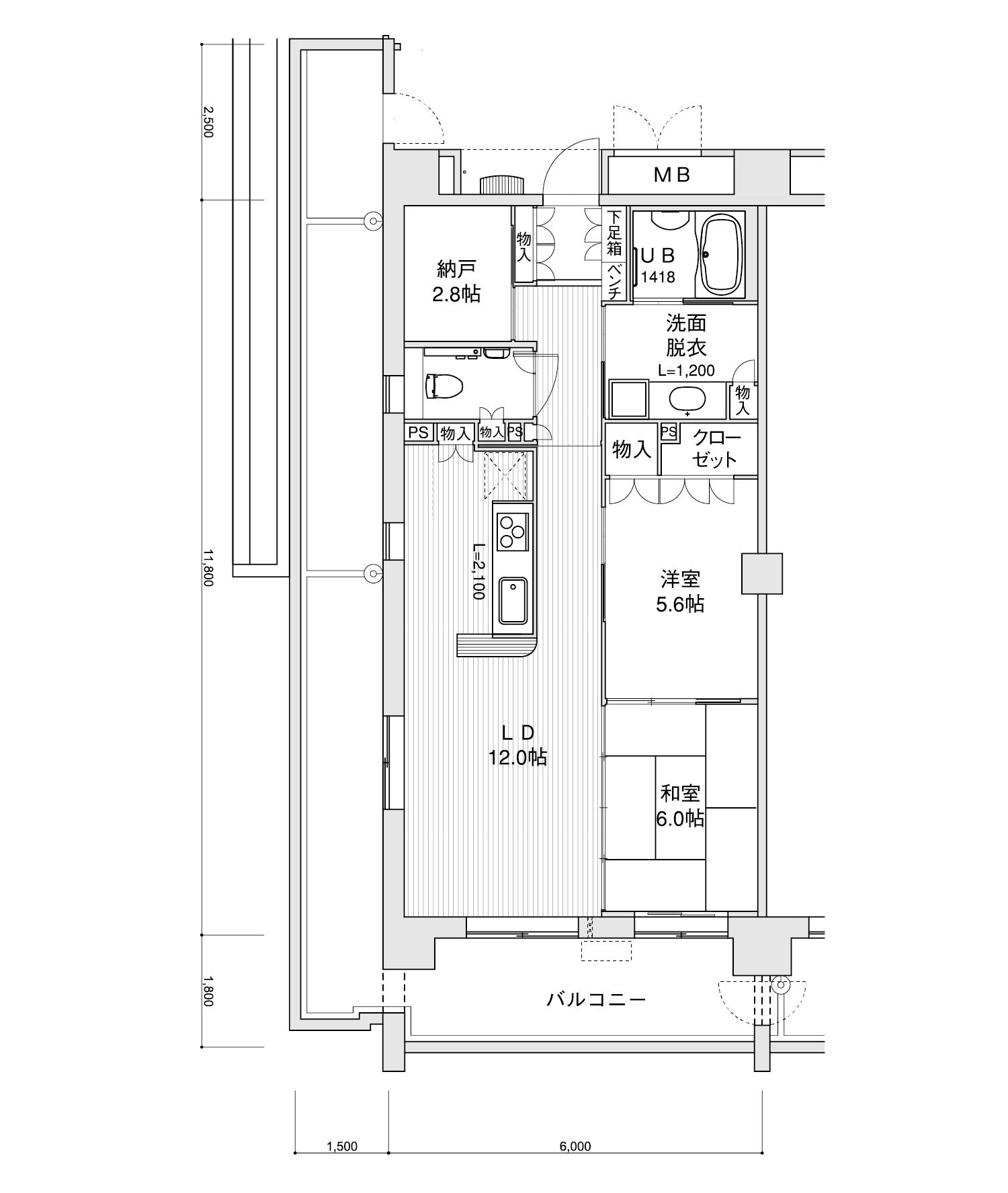 601-E12LDK+納戸専有面積 / 70.80m²