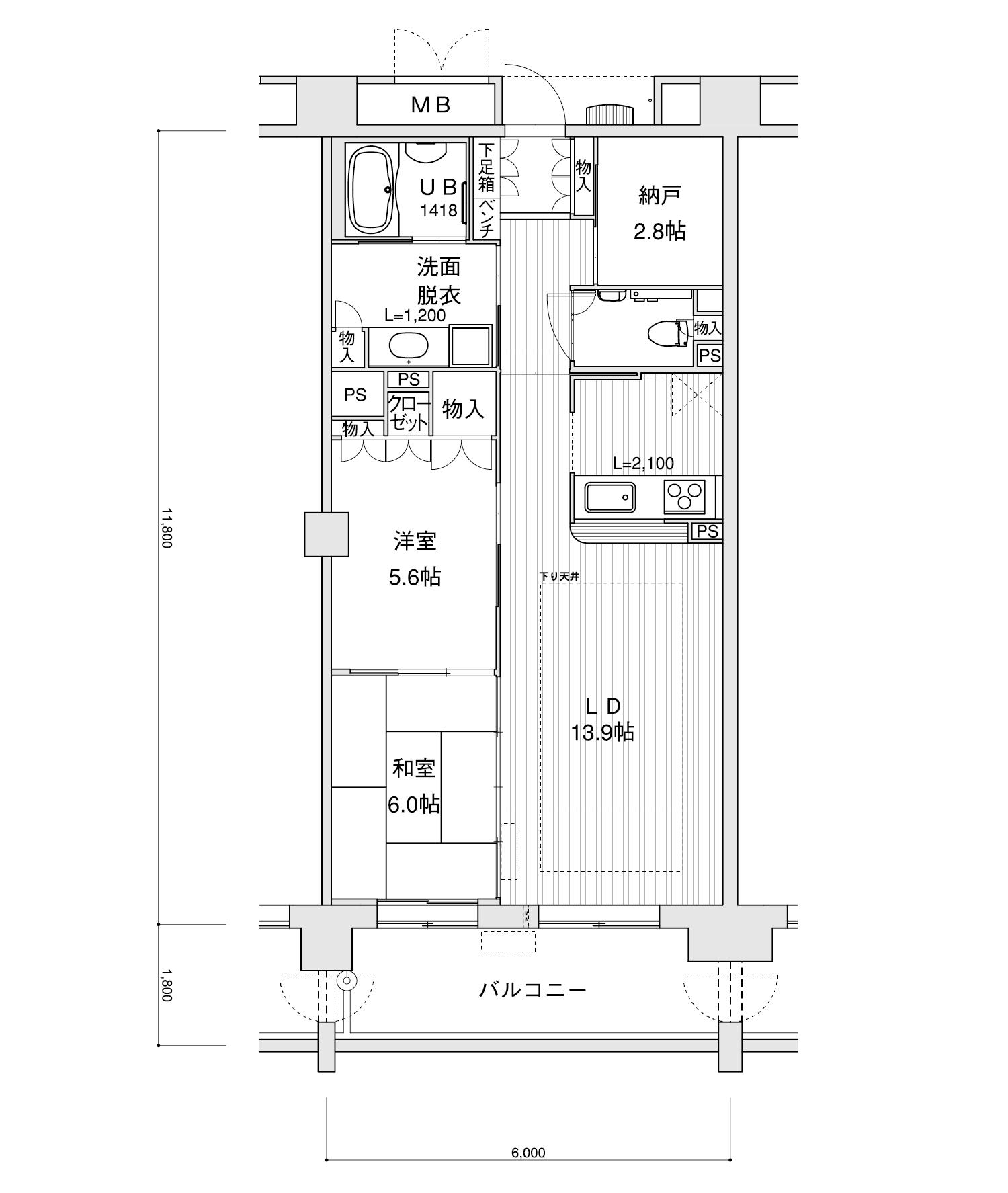 602-F12LDK+納戸専有面積 / 70.80m²
