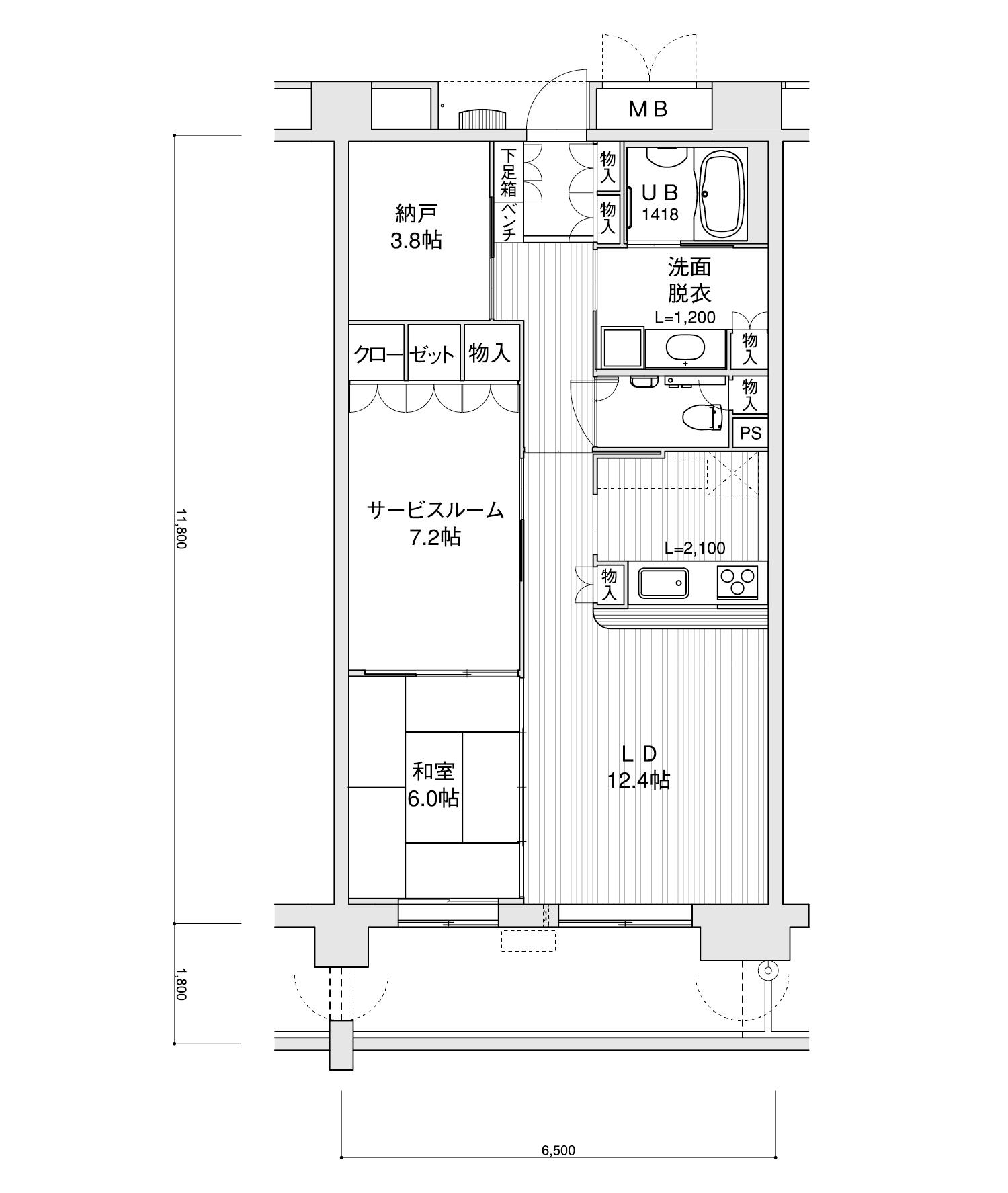 1303-G11LDK+サービスルーム+納戸専有面積 / 76.70m²
