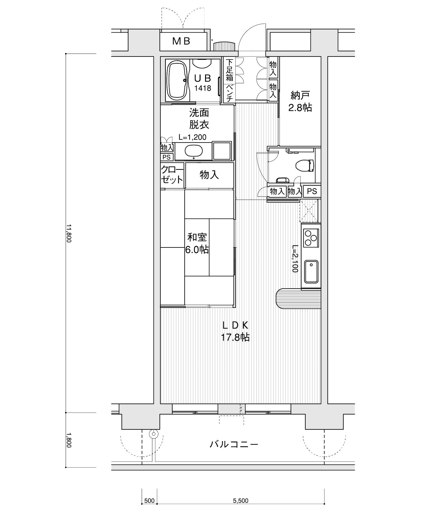 605-C41LDK+納戸専有面積 / 64.90m²