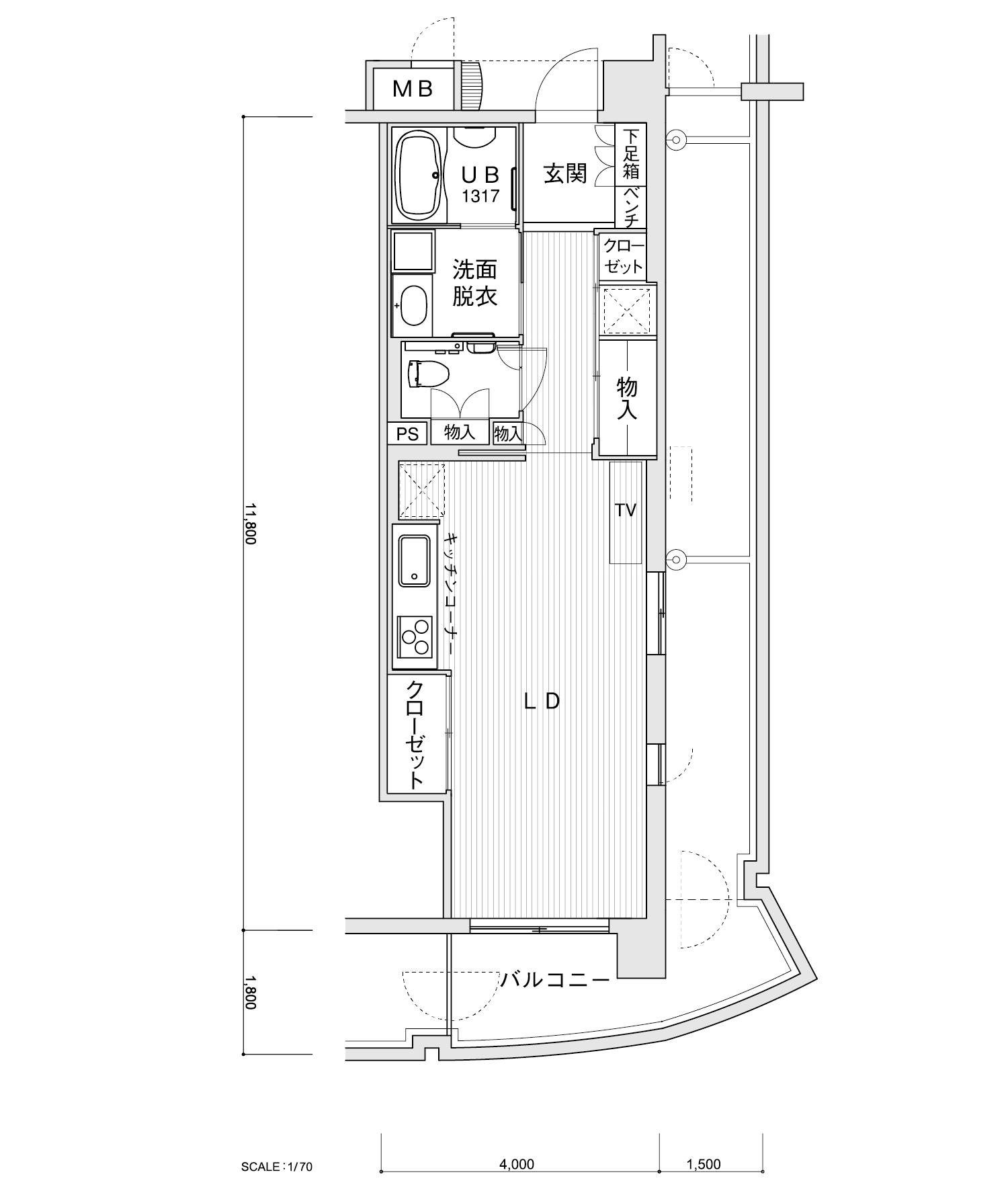 608-P3ワンルーム専有面積 / 45.40m²