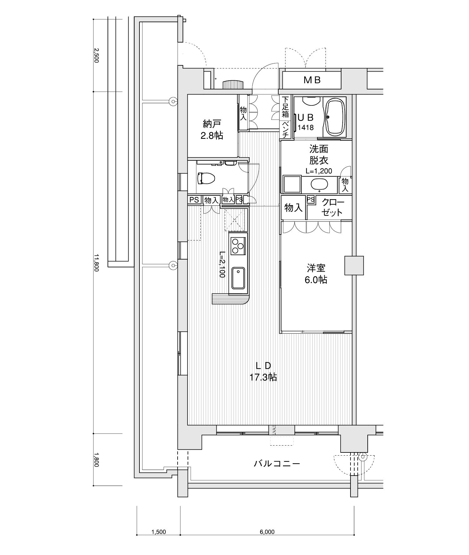 501-E31LDK+納戸専有面積 / 70.80m²