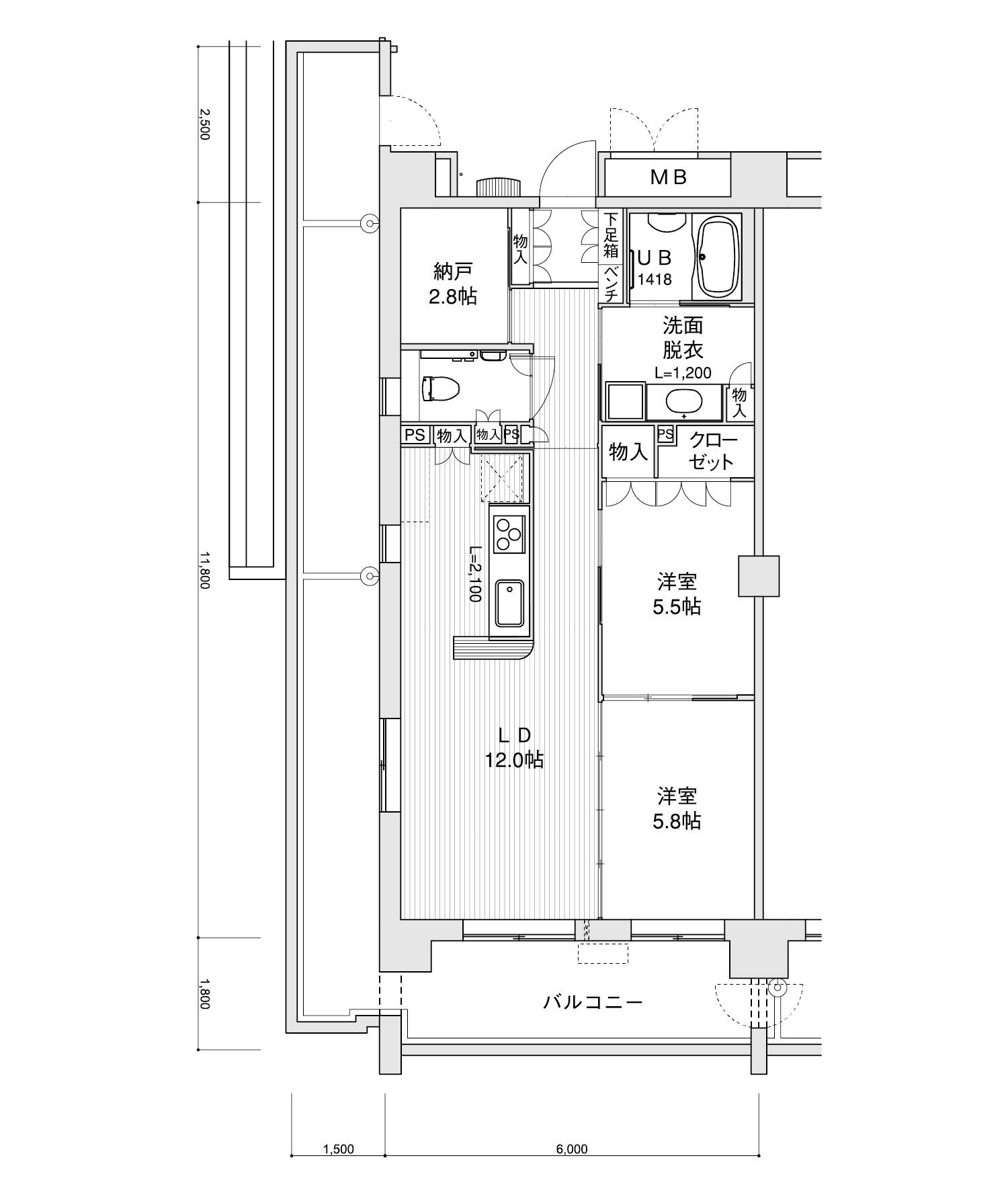 801-E22LDK+納戸専有面積 / 70.80m²