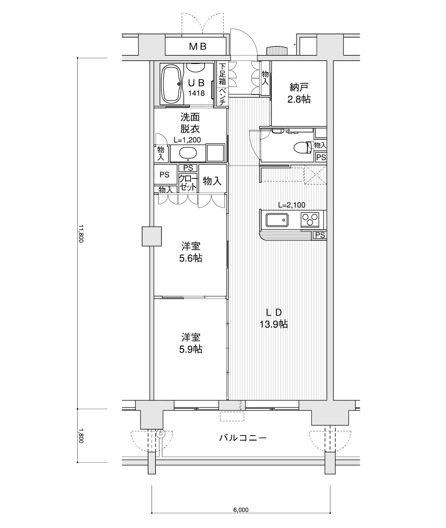 802-F22LDK+納戸専有面積 / 70.80m²