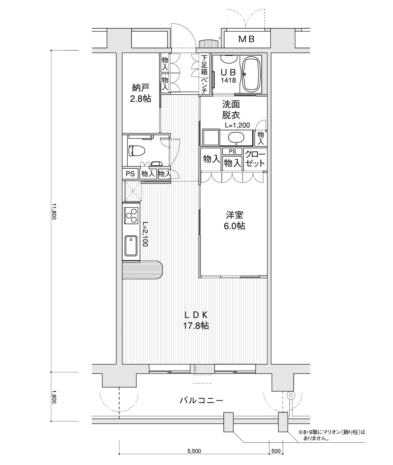 806-D31LDK+納戸専有面積 / 64.90m²