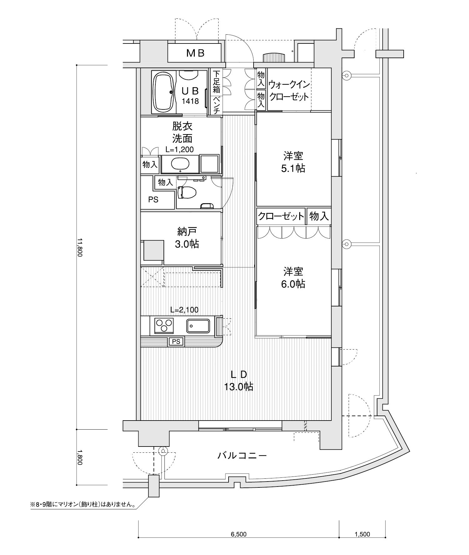 807-H22LDK+納戸専有面積 / 76.70m²