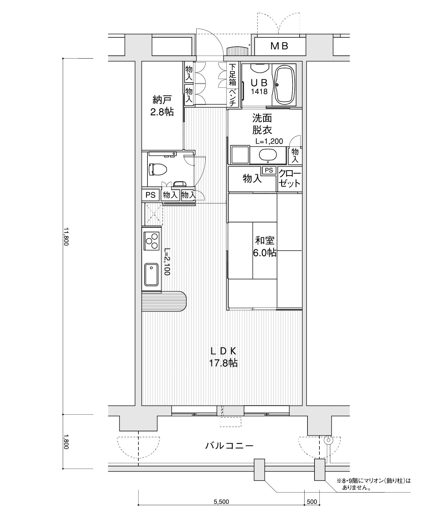 906-D41LDK+納戸専有面積 / 64.90m²