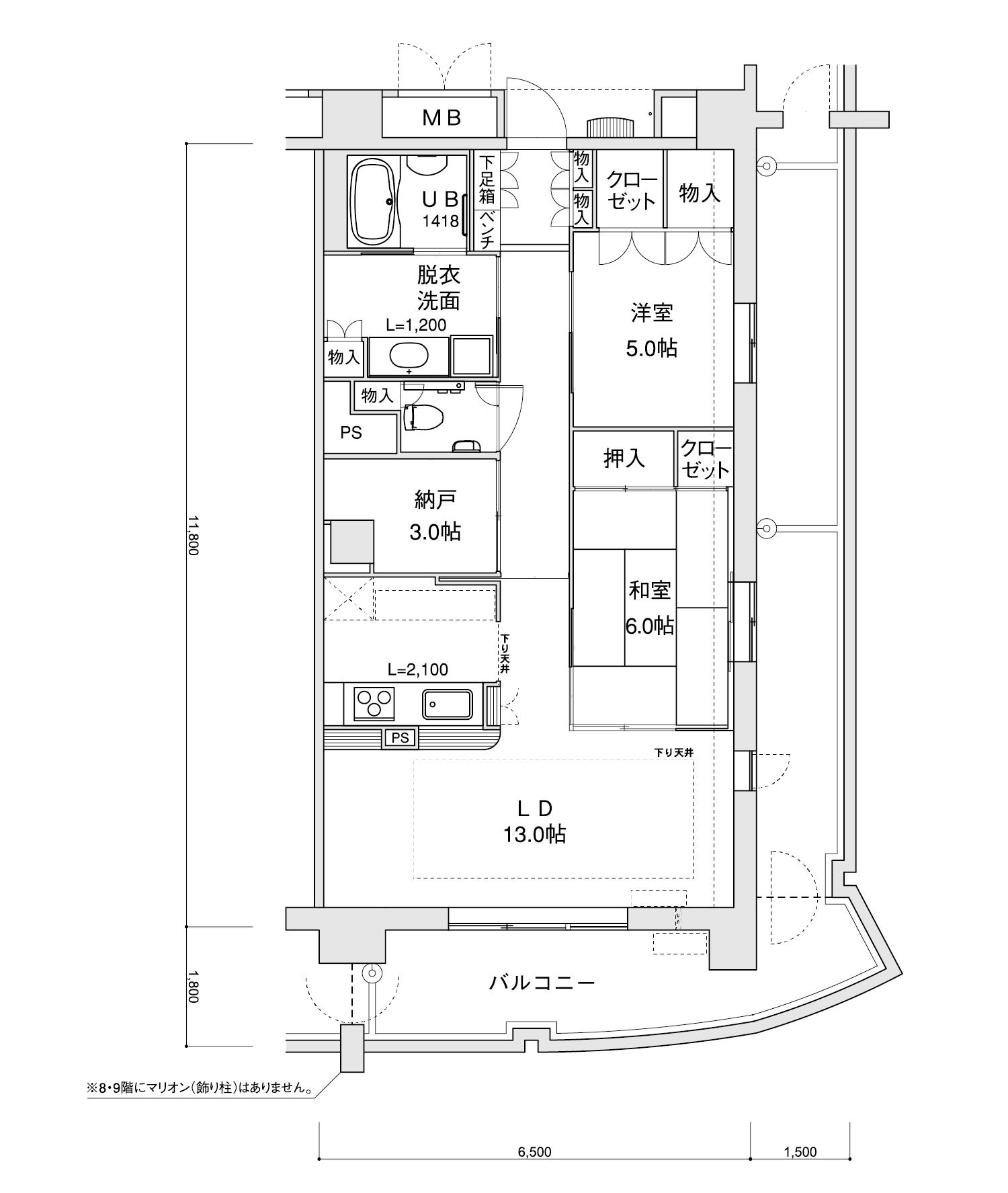 907-H12LDK+納戸専有面積 / 76.70m²